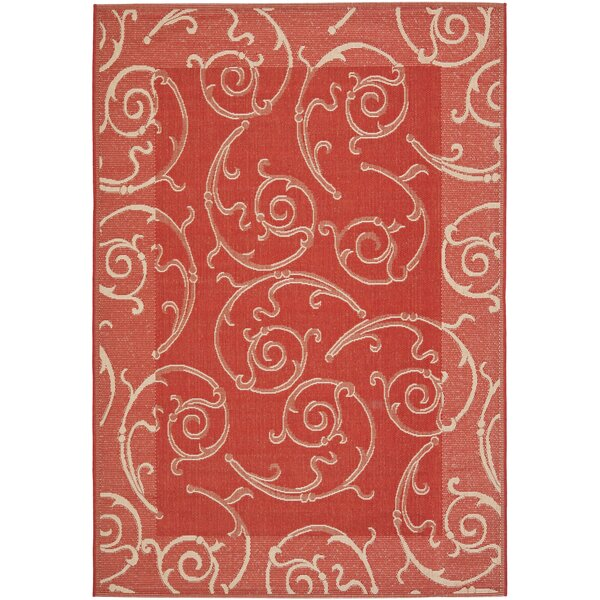 Alberty Red / Natural Indoor/Outdoor Woven Rug by Three Posts