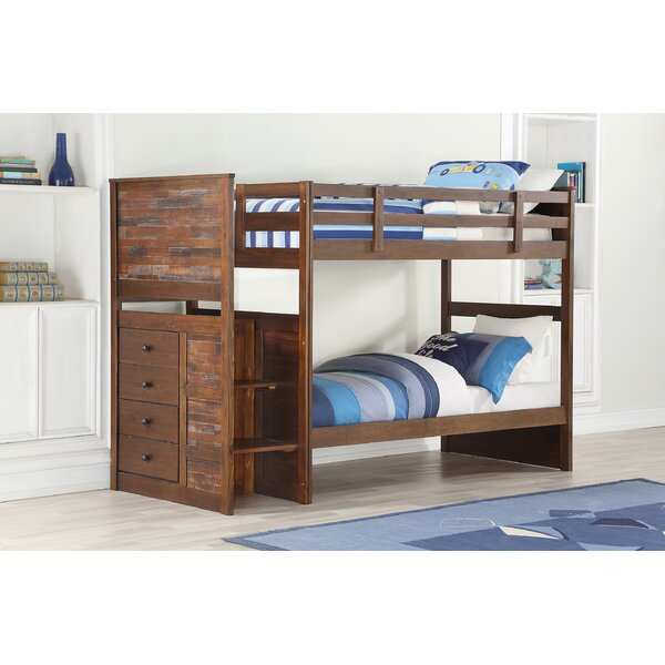 Featherston Stairway Twin over Twin Bunk Bed with Drawers by Harriet Bee