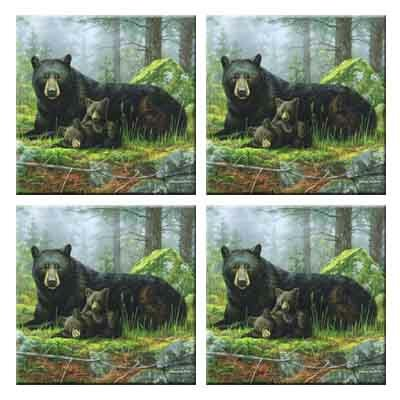 Tuftop Black Bears Coasters (Set of 4) by McGowan