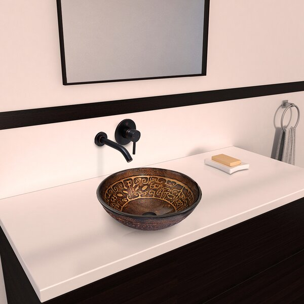 Greek Glass Circular Vessel Bathroom Sink with Faucet by VIGO