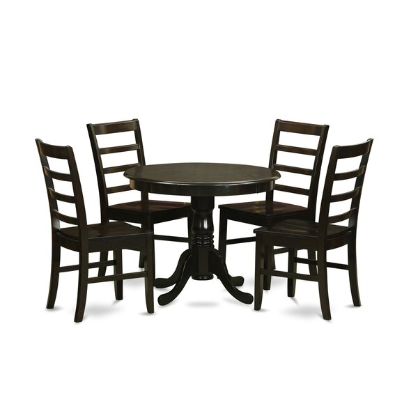 5 Piece Solid Wood Dining Set by East West Furniture East West Furniture