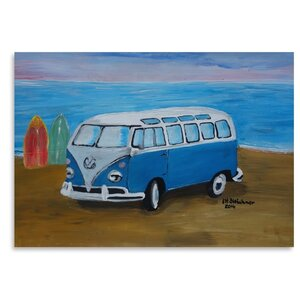 Blue Surf Bus with Surf Boards Painting by East Urban Home