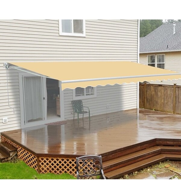 16 Ft W X 10 Ft D Retractable Motorized Patio Awning By Aleko.