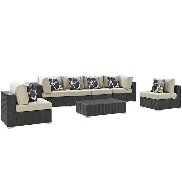 Tripp 7 Piece Rattan Sunbrella Sectional Seating Group with Cushions by Brayden Studio