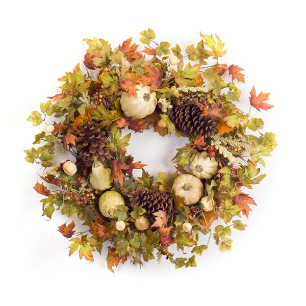 Fall Leaf and Gourd 27 Foam/Fabric Wreath by The Holiday Aisle