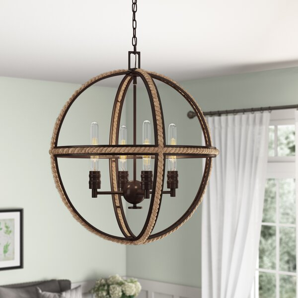 Kennett 4 - Light Unique / Statement Globe Chandelier With Rope Accents By Birch Lane™ Heritage