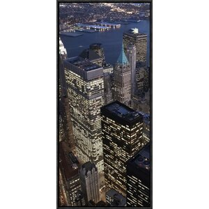 'Night Aerial View of the Financial District, New York City (Center)' by Cameron Davidson Framed Photographic Print o... by Global Gallery