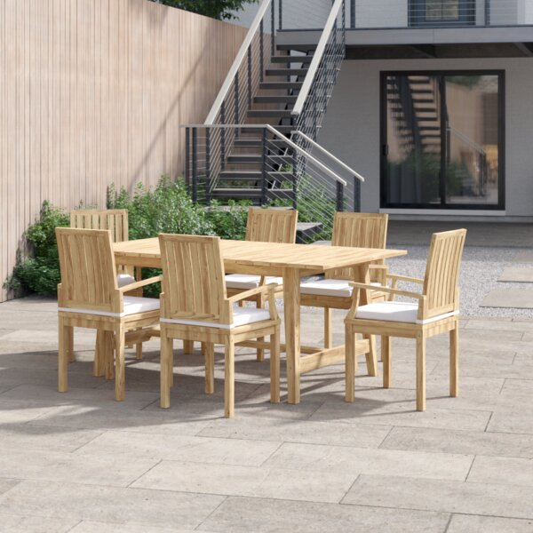 Anthony Outdoor Patio 7 Piece Teak Dining Set with Cushion by Foundstone