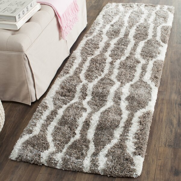 Barcelona Handmade Shag Cotton Silver/White Area Rug by Safavieh