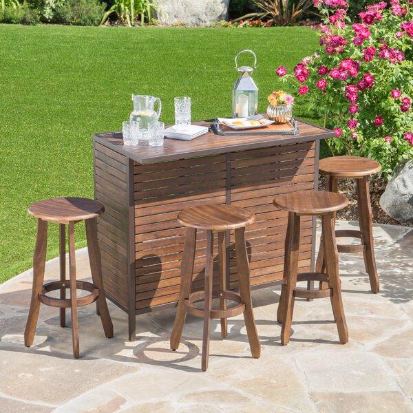Rockridge Outdoor Acacia Wood 5 Piece Home Bar Set by Loon Peak