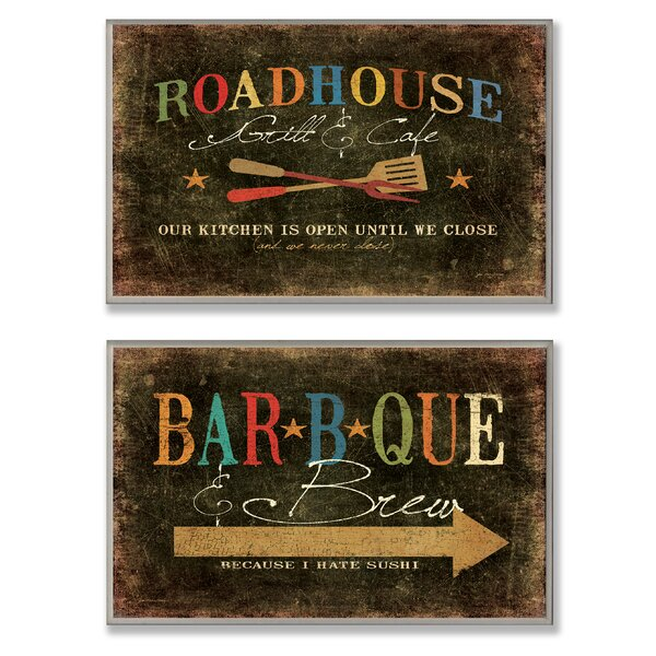 Roadhouse Grill, BBQ and Brew 2 Piece Textual Art Wall Plaque Set by Stupell Industries
