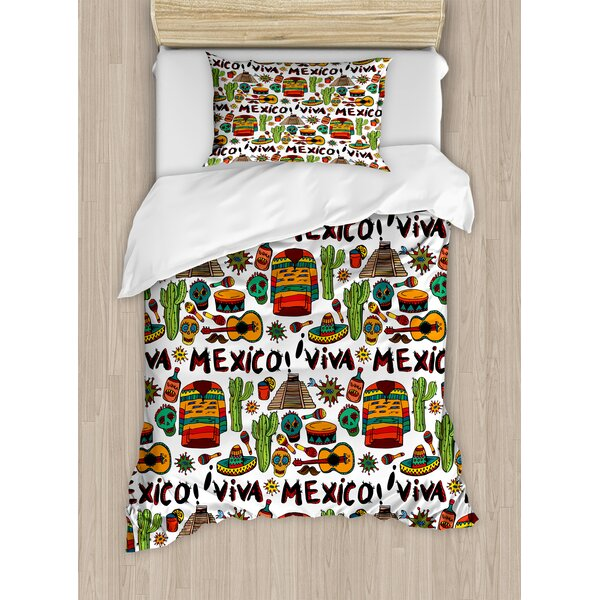 Mexican Decorations Viva Mexico with Native Elements Poncho Tequila Salsa Hot Peppers Image Duvet Set by Ambesonne