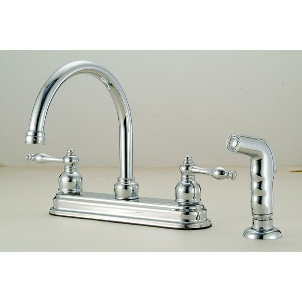 Double Handle Kitchen Faucet with Side Spray and Soap Dis by Hardware House