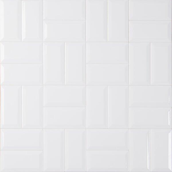 Glossy Beveled 3 x 6 Ceramic Subway Tile in White by MSI