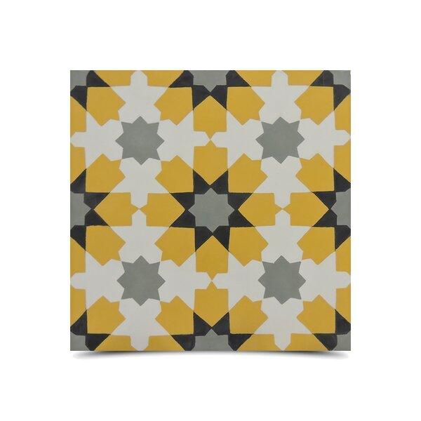 Ahfir 8 x 8 Handmade Cement Tile in Multi-Color by Moroccan Mosaic