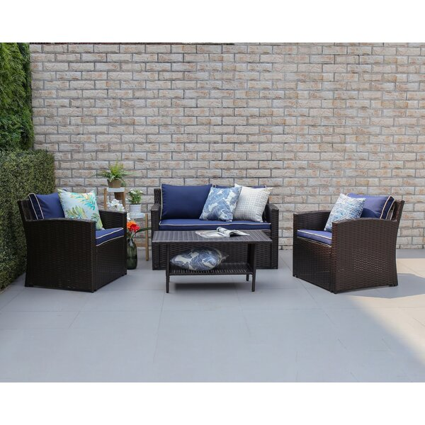 Kingsbury 4 Piece Sofa Seating Group with Cushions by Longshore Tides