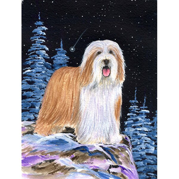 Starry Night Bearded Collie House Vertical Flag by Caroline's Treasures