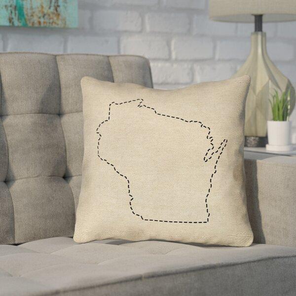 Sherilyn Wisconsin Dash Outline Outdoor Throw Pillow