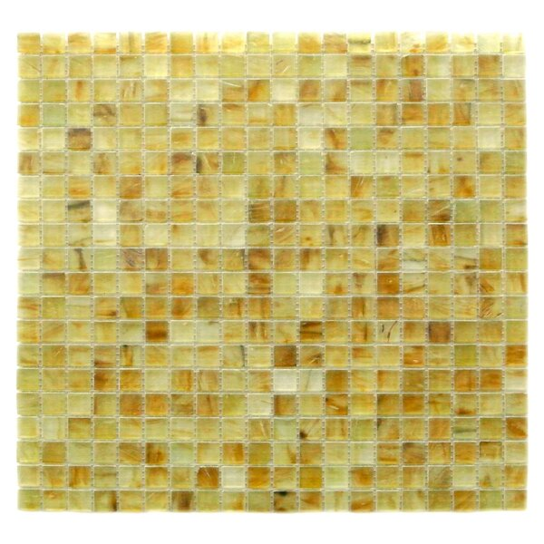 Amber 0.63 x 0.63 Glass Mosaic Tile in Frosted Brushed Gold by Abolos