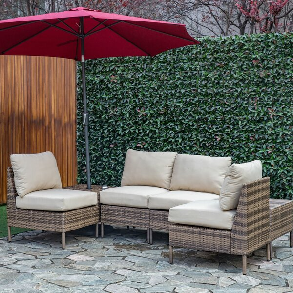Sevilla Outdoor 4 Piece Sofa Seating Group with Cushions by Breakwater Bay