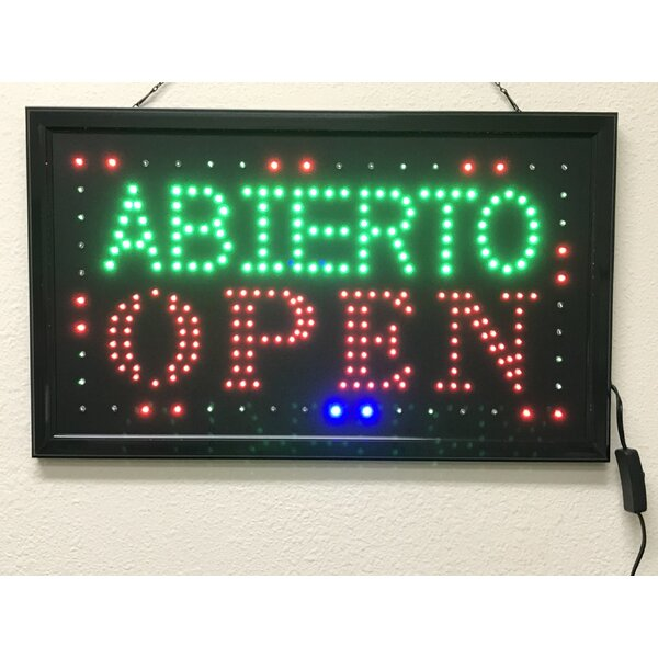 Abierto Open Sign by Creative Motion
