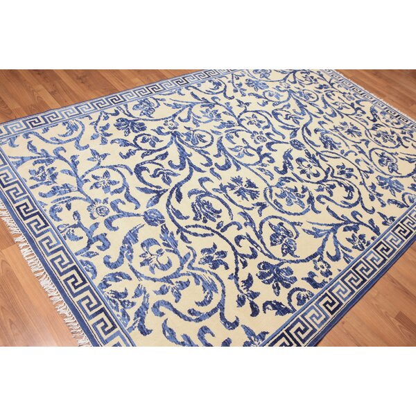 One-of-a-Kind Hedgerley Hand-Knotted Wool Blue/Beige Area Rug by Canora Grey