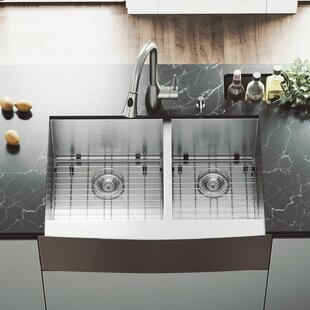 33 L x 22 W Double Basin Farmhouse Kitchen Sink with Faucet, Grid, Strainer and Soap Dispenser ByVIGO