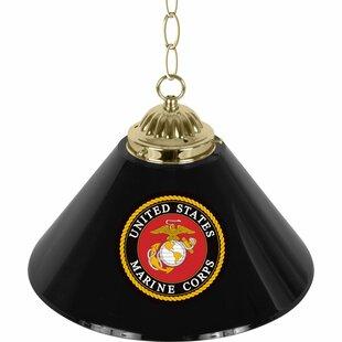 U.S Marine Corps 1-Light Pool Table Lights Pendant By Trademark Global