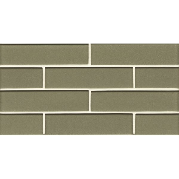 Remy Glass 8 x 16 Glass Mosaic 2x8 Gloss Mesh Mounted Tile in Verdant by Grayson Martin