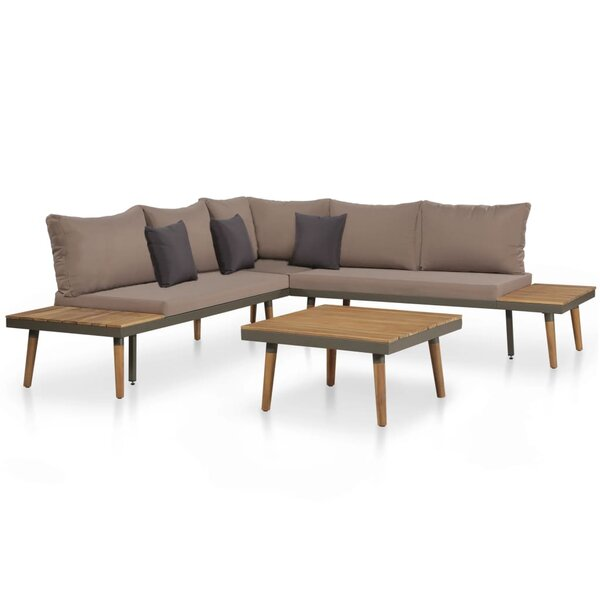 Delanco 4 Piece Sectional Seating Group with Cushions by Wrought Studio
