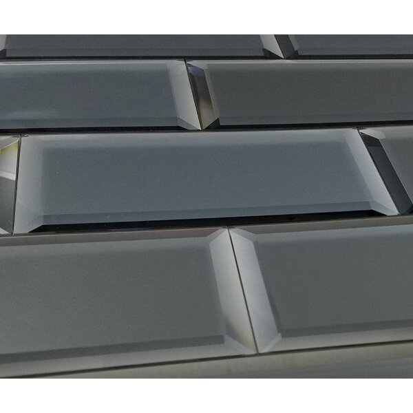 Echo Matte 4 x 12 Mirror Glass Subway Tile in Graphite by Abolos