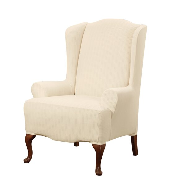 Stretch Pinstripe T-Cushion Wingback Slipcover by Sure Fit