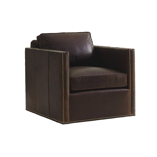 Shadow Play Leather Swivel Armchair by Lexington