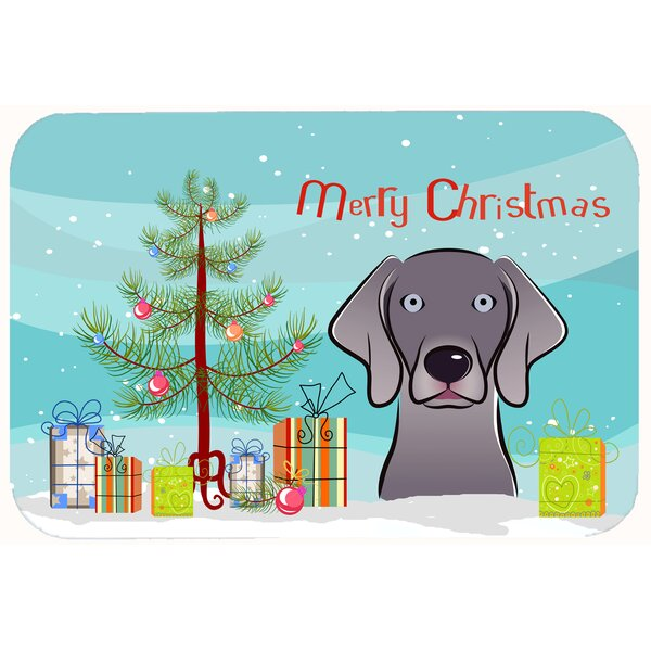 Christmas Tree and Weimaraner Kitchen/Bath Mat by The Holiday Aisle