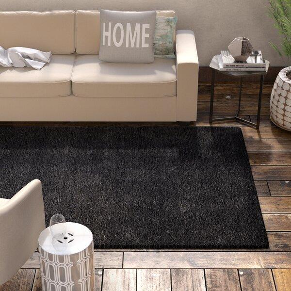 Delano Hand-Woven Wool Charcoal Area Rug by Latitude Run