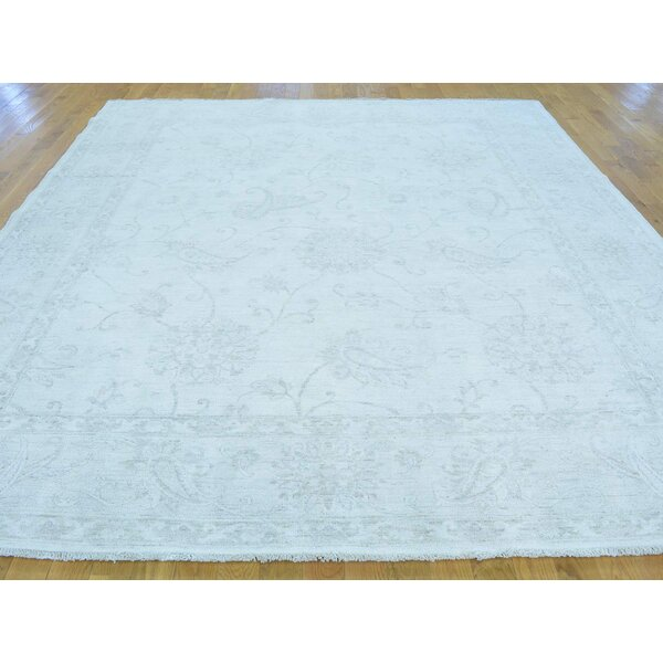 One-of-a-Kind Bearer Stone Wash Hand-Knotted Ivory Wool Area Rug by Isabelline