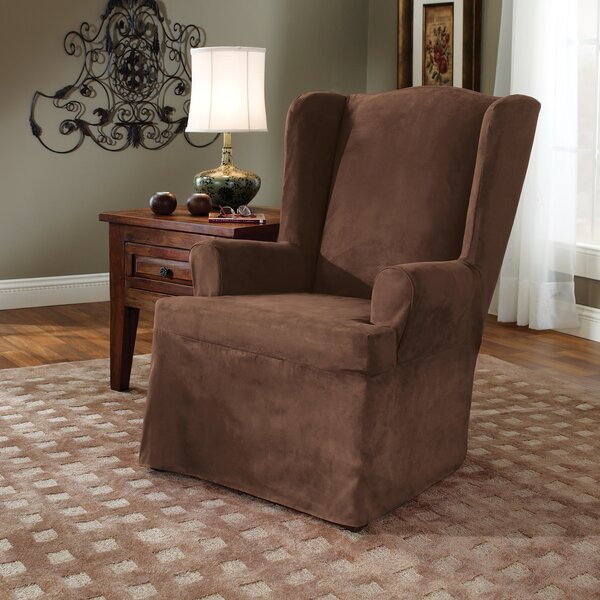 Check Price Soft Suede T-Cushion Wingback Slipcover