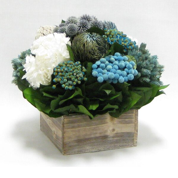 Mixed Floral Centerpiece in Wooden Cube Container by Rosecliff Heights