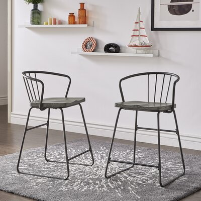 Gray Wood Low Back Counter Height Bar Stools You Ll Love