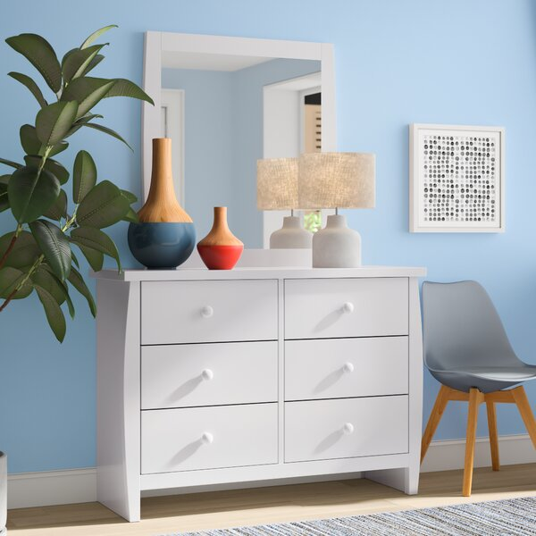 Amabilia 6 Drawers Double Dresser with Mirror by Mack & Milo