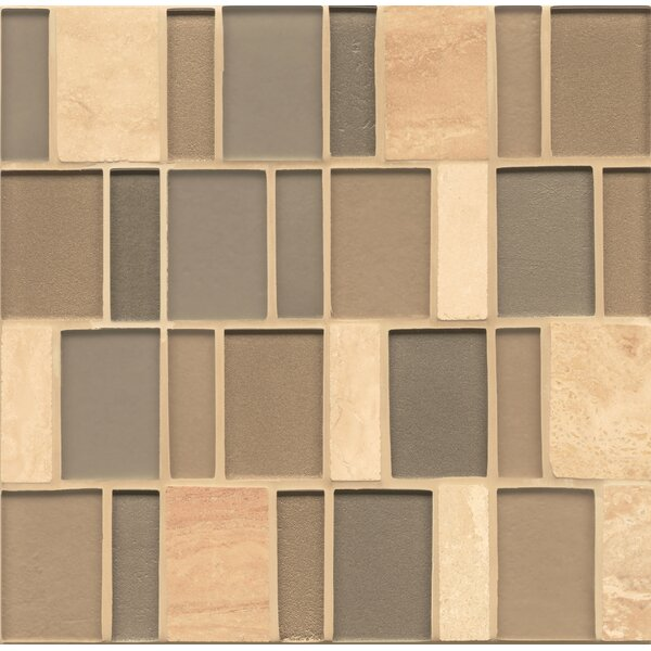 Remy Glass Mosaic Brick Slate/Glass Blend Tile in Tinsley by Grayson Martin
