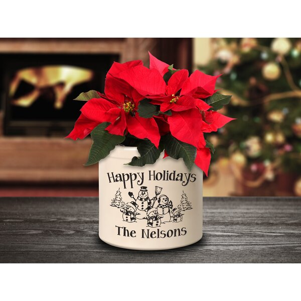West Side Personalized Snowman Family Ceramic Pot Planter by The Holiday Aisle