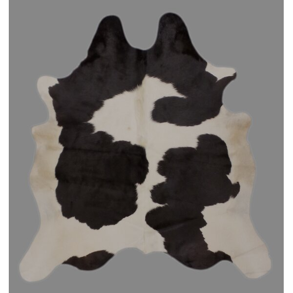 One-of-a-Kind Cravens Holando Hand-Woven Cowhide Black/White Area Rug by Foundry Select