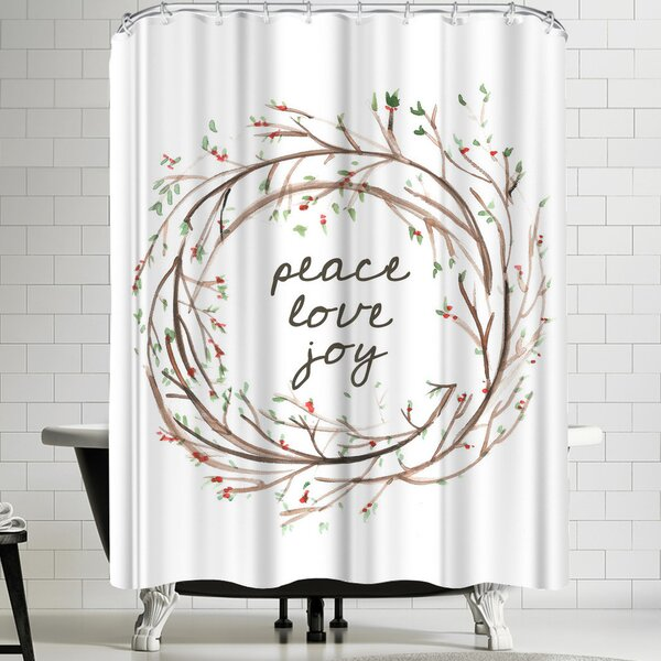 Jetty Printables Peace Love Joy Wreath Shower Curtain by East Urban Home