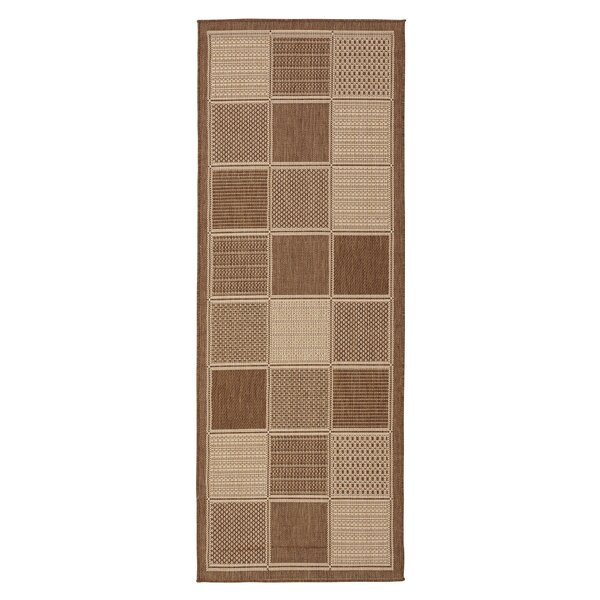 Goodhue Contemporary Boxes Design Brown Outdoor/Indoor Area Rug by Gracie Oaks