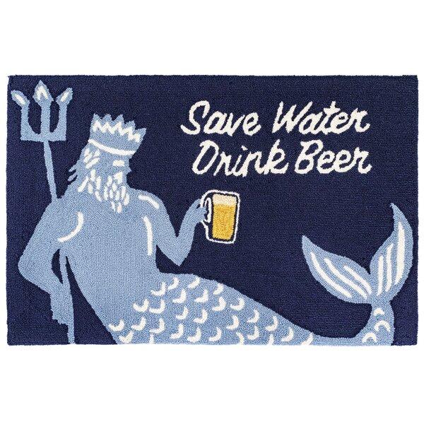 Mcmillan Save Water Drink Beer Navy Indoor/Outdoor Area Rug by Winston Porter