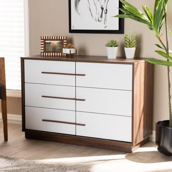 Johnathon Mid-Century Modern Two-Tone Wood 6 Drawer Dresser by Wrought Studio