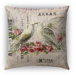 Love Birds 3 Burlap Indoor/Outdoor Throw Pillow