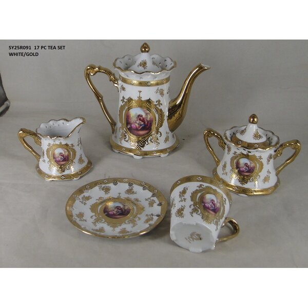 Liberty Street Romance Design 17 Piece Porcelain China Tea Set by Astoria Grand