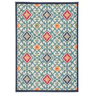 Southbury Trellis Indoor/Outdoor Blue/Beige Area Rug By Winston Porter